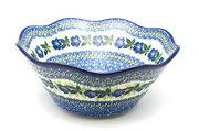 "Ceramika Artystyczna Polish Pottery Bowl - Curvy Edge - 10"" - Blue Pansy 692-1552a (Ceramika Artystyczna)"