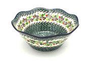 "Ceramika Artystyczna Polish Pottery Bowl - Curvy Edge - 10"" - Burgundy Berry Green 692-1415a (Ceramika Artystyczna)"