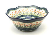 "Ceramika Artystyczna Polish Pottery Bowl - Curvy Edge - 10"" - Peach Spring Daisy 692-560a (Ceramika Artystyczna)"