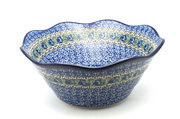 "Ceramika Artystyczna Polish Pottery Bowl - Curvy Edge - 10"" - Peacock Feather 692-1513a (Ceramika Artystyczna)"