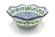 "Ceramika Artystyczna Polish Pottery Bowl - Curvy Edge - 12"" - Blue Berries 693-1416a (Ceramika Artystyczna)"
