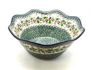 "Ceramika Artystyczna Polish Pottery Bowl - Curvy Edge - 12"" - Burgundy Berry Green 693-1415a (Ceramika Artystyczna)"