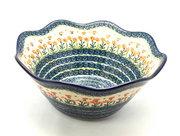 "Ceramika Artystyczna Polish Pottery Bowl - Curvy Edge - 12"" - Peach Spring Daisy 693-560a (Ceramika Artystyczna)"