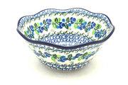 "Ceramika Artystyczna Polish Pottery Bowl - Curvy Edge - 8"" - Blue Berries 691-1416a (Ceramika Artystyczna)"