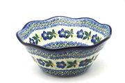 "Ceramika Artystyczna Polish Pottery Bowl - Curvy Edge - 8"" - Blue Pansy 691-1552a (Ceramika Artystyczna)"