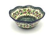 "Ceramika Artystyczna Polish Pottery Bowl - Curvy Edge - 8"" - Burgundy Berry Green 691-1415a (Ceramika Artystyczna)"