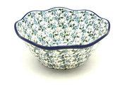 "Ceramika Artystyczna Polish Pottery Bowl - Curvy Edge - 8"" - Forget-Me-Knot 691-2089a (Ceramika Artystyczna)"