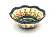 "Ceramika Artystyczna Polish Pottery Bowl - Curvy Edge - 8"" - Peach Spring Daisy 691-560a (Ceramika Artystyczna)"