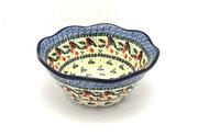 "Ceramika Artystyczna Polish Pottery Bowl - Curvy Edge - 8"" - Red Robin 691-1257a (Ceramika Artystyczna)"