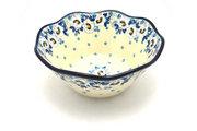 "Ceramika Artystyczna Polish Pottery Bowl - Curvy Edge - 8"" - White Poppy 691-2222a (Ceramika Artystyczna)"