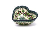 Ceramika Artystyczna Polish Pottery Bowl - Deep Heart - Burgundy Berry Green B37-1415a (Ceramika Artystyczna)
