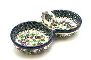Ceramika Artystyczna Polish Pottery Bowl - Double Serving - Burgundy Berry Green 942-1415a (Ceramika Artystyczna)