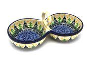 Ceramika Artystyczna Polish Pottery Bowl - Double Serving - Christmas Trees 942-1284a (Ceramika Artystyczna)