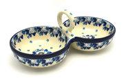 Ceramika Artystyczna Polish Pottery Bowl - Double Serving - White Poppy 942-2222a (Ceramika Artystyczna)