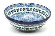 "Ceramika Artystyczna Polish Pottery Bowl - Grand Nesting (10 3/4"") - Blue Pansy 055-1552a (Ceramika Artystyczna)"