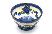 Ceramika Artystyczna Polish Pottery Bowl - Pedestal - Small - Blue Poppy 206-163a (Ceramika Artystyczna)