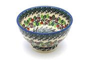Ceramika Artystyczna Polish Pottery Bowl - Pedestal - Small - Burgundy Berry Green 206-1415a (Ceramika Artystyczna)