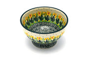 Ceramika Artystyczna Polish Pottery Bowl - Pedestal - Small - Daffodil 206-2122q (Ceramika Artystyczna)