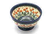 Ceramika Artystyczna Polish Pottery Bowl - Pedestal - Small - Peach Spring Daisy 206-560a (Ceramika Artystyczna)