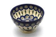 Ceramika Artystyczna Polish Pottery Bowl - Pedestal - Small - Peacock 206-054a (Ceramika Artystyczna)