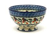 Ceramika Artystyczna Polish Pottery Bowl - Pedestal - Small - Red Robin 206-1257a (Ceramika Artystyczna)
