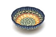 Ceramika Artystyczna Polish Pottery Bowl - Shallow Scalloped - Small - Autumn 023-050a (Ceramika Artystyczna )