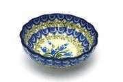 Ceramika Artystyczna Polish Pottery Bowl - Shallow Scalloped - Small - Blue Bells 023-1432a (Ceramika Artystyczna)