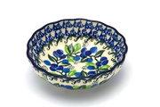 Ceramika Artystyczna Polish Pottery Bowl - Shallow Scalloped - Small - Blue Berries 023-1416a (Ceramika Artystyczna)