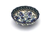 Ceramika Artystyczna Polish Pottery Bowl - Shallow Scalloped - Small - Blue Chicory 023-976a (Ceramika Artystyczna)