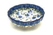 Ceramika Artystyczna Polish Pottery Bowl - Shallow Scalloped - Small - Blue Clover 023-1978a (Ceramika Artystyczna )
