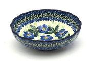 Ceramika Artystyczna Polish Pottery Bowl - Shallow Scalloped - Small - Blue Pansy 023-1552a (Ceramika Artystyczna)