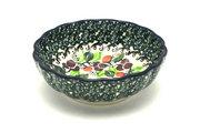 Ceramika Artystyczna Polish Pottery Bowl - Shallow Scalloped - Small - Burgundy Berry Green 023-1415a (Ceramika Artystyczna)