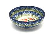 Ceramika Artystyczna Polish Pottery Bowl - Shallow Scalloped - Small - Crimson Bells 023-1437a (Ceramika Artystyczna)
