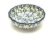 Ceramika Artystyczna Polish Pottery Bowl - Shallow Scalloped - Small - Forget-Me-Knot 023-2089a (Ceramika Artystyczna)
