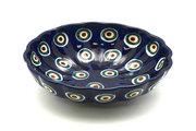 Ceramika Artystyczna Polish Pottery Bowl - Shallow Scalloped - Small - Peacock 023-054a (Ceramika Artystyczna)