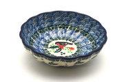 Ceramika Artystyczna Polish Pottery Bowl - Shallow Scalloped - Small - Red Robin 023-1257a (Ceramika Artystyczna)