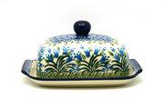 Ceramika Artystyczna Polish Pottery Butter Dish - Blue Bells 295-1432a (Ceramika Artystyczna)