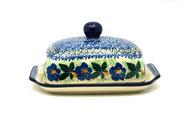 Ceramika Artystyczna Polish Pottery Butter Dish - Blue Pansy 295-1552a (Ceramika Artystyczna)