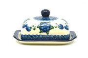 Ceramika Artystyczna Polish Pottery Butter Dish - Blue Poppy 295-163a (Ceramika Artystyczna)