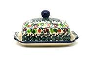 Ceramika Artystyczna Polish Pottery Butter Dish - Burgundy Berry Green 295-1415a (Ceramika Artystyczna)