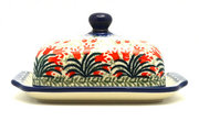 Ceramika Artystyczna Polish Pottery Butter Dish - Crimson Bells 295-1437a (Ceramika Artystyczna)