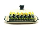 Ceramika Artystyczna Polish Pottery Butter Dish - Daffodil 295-2122q (Ceramika Artystyczna)