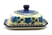 Ceramika Artystyczna Polish Pottery Butter Dish - Morning Glory 295-1915a (Ceramika Artystyczna)