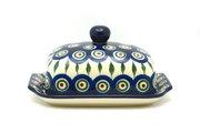 Ceramika Artystyczna Polish Pottery Butter Dish - Peacock 295-054a (Ceramika Artystyczna)