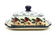 Ceramika Artystyczna Polish Pottery Butter Dish - Red Robin 295-1257a (Ceramika Artystyczna)