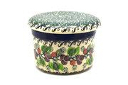 Ceramika Artystyczna Polish Pottery Butter Keeper - Burgundy Berry Green 270-1415a (Ceramika Artystyczna)