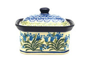 Ceramika Artystyczna Polish Pottery Cake Box - Small - Blue Bells 385-1432a (Ceramika Artystyczna)