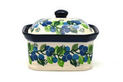 Ceramika Artystyczna Polish Pottery Cake Box - Small - Blue Berries 385-1416a (Ceramika Artystyczna)