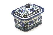 Ceramika Artystyczna Polish Pottery Cake Box - Small - Blue Chicory 385-976a (Ceramika Artystyczna)
