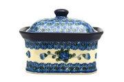 Ceramika Artystyczna Polish Pottery Cake Box - Small - Blue Poppy 385-163a (Ceramika Artystyczna)